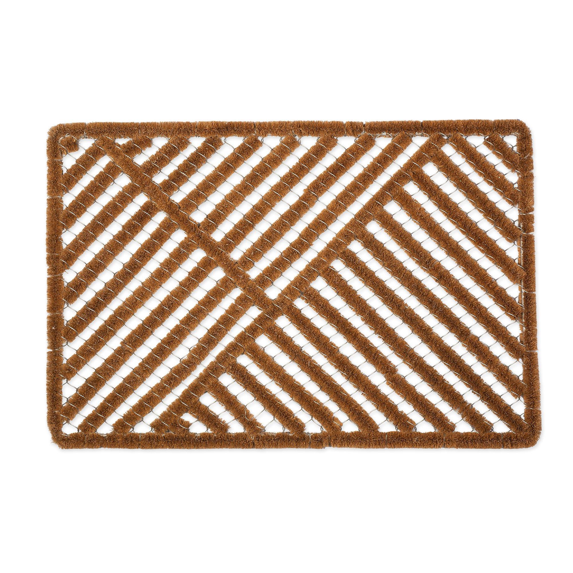 J&M Home Fashions Natural Coir Outdoor Boot Scraper Doormat, 24x36'', Heavy Duty Entry Way Shoes Scraper Patio Rug Dirt Debris Mud Trapper Waterproof