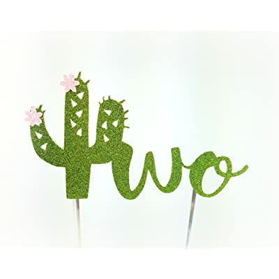 CMS Design Studio Handmade Succulent Birthday Cake Topper Decoration - Two with Cactus Flowers - Made in USA with Double Sided Gold Glitter Stock (Two with Flowers): Toys & Games