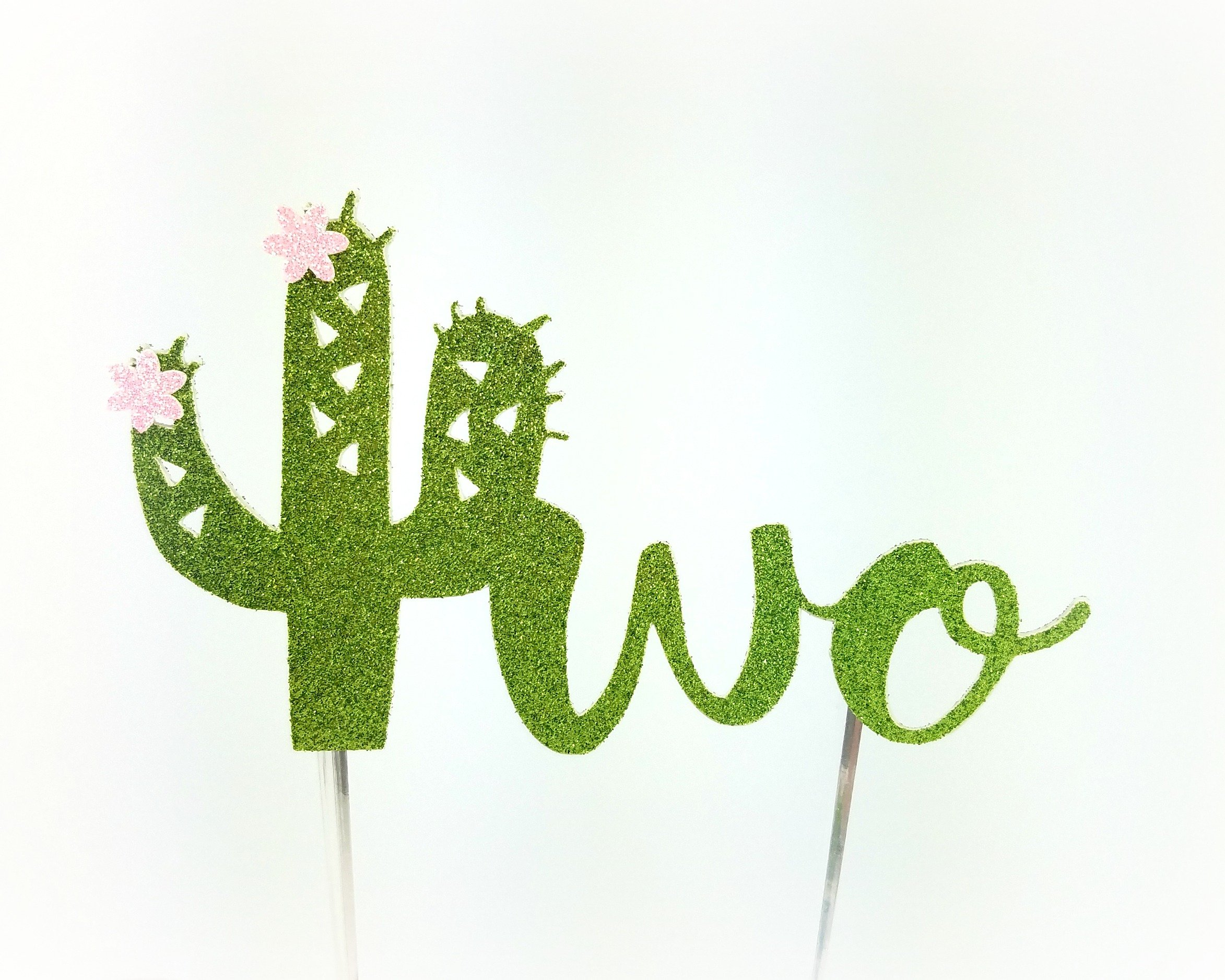 Handmade Succulent Birthday Cake Topper Decoration - two with cactus flowers - Made in USA with Double Sided Gold Glitter Stock (Two with flowers)
