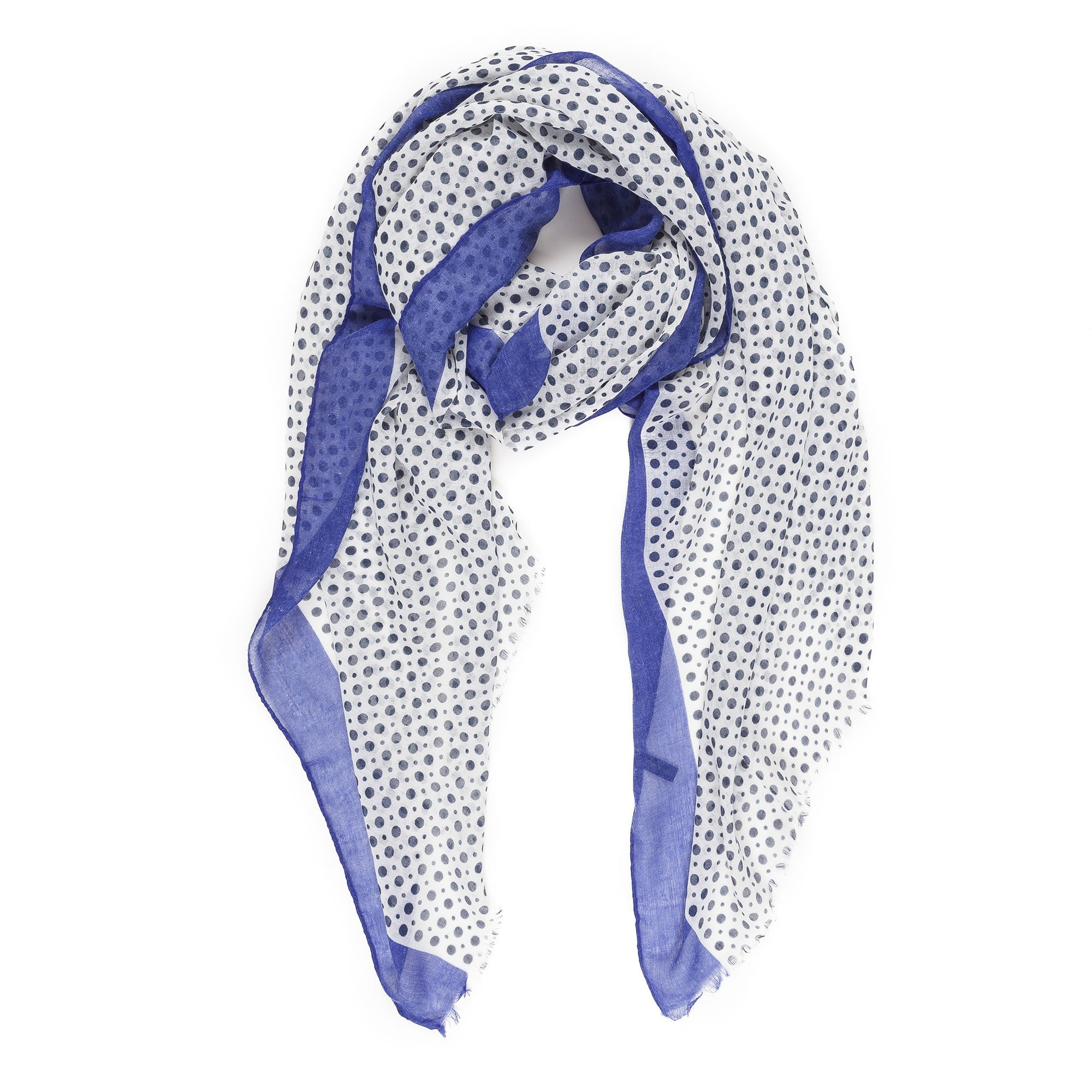 Scarves for Women by MIMOSITO Fashion Lightweight Elegant Geometric Patterned Wrap (Polka Dot-Blue) by MIMOSITO (Image #1)