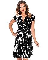 KRISP Women's Fashion Simple Casual Stretch Polka Dot Summer Dress