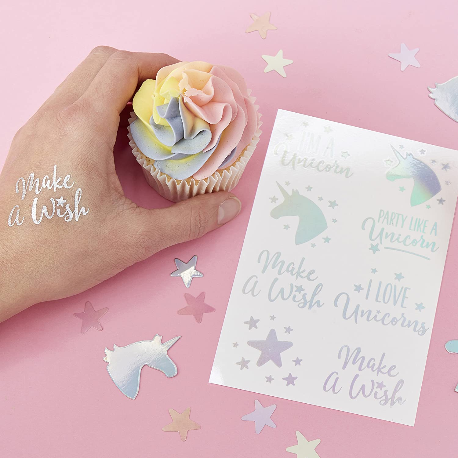 ffba53c15a5cc Ginger Ray Iridescent Unicorn Party Temporary Tattoo - 16 Pack - Make A Wish:  Amazon.co.uk: Toys & Games