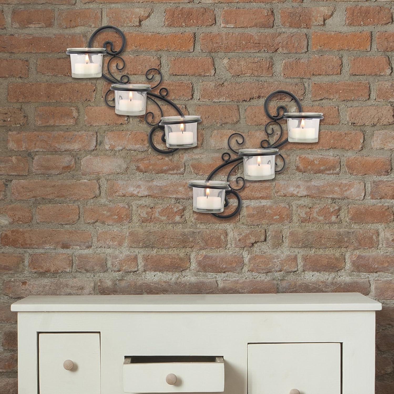 Bedroom or Bathroom Hallway Stonebriar Transitional Scrolled Ivy Tea Light Candle Holder Hanging Wall Sconce Black CKK BR-CN-5387A Modern Home Decor for Living Room