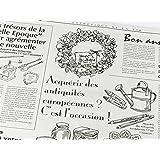 ノーブランド品 フランスの新聞紙風プリント 仏字・英字 包装紙 10枚