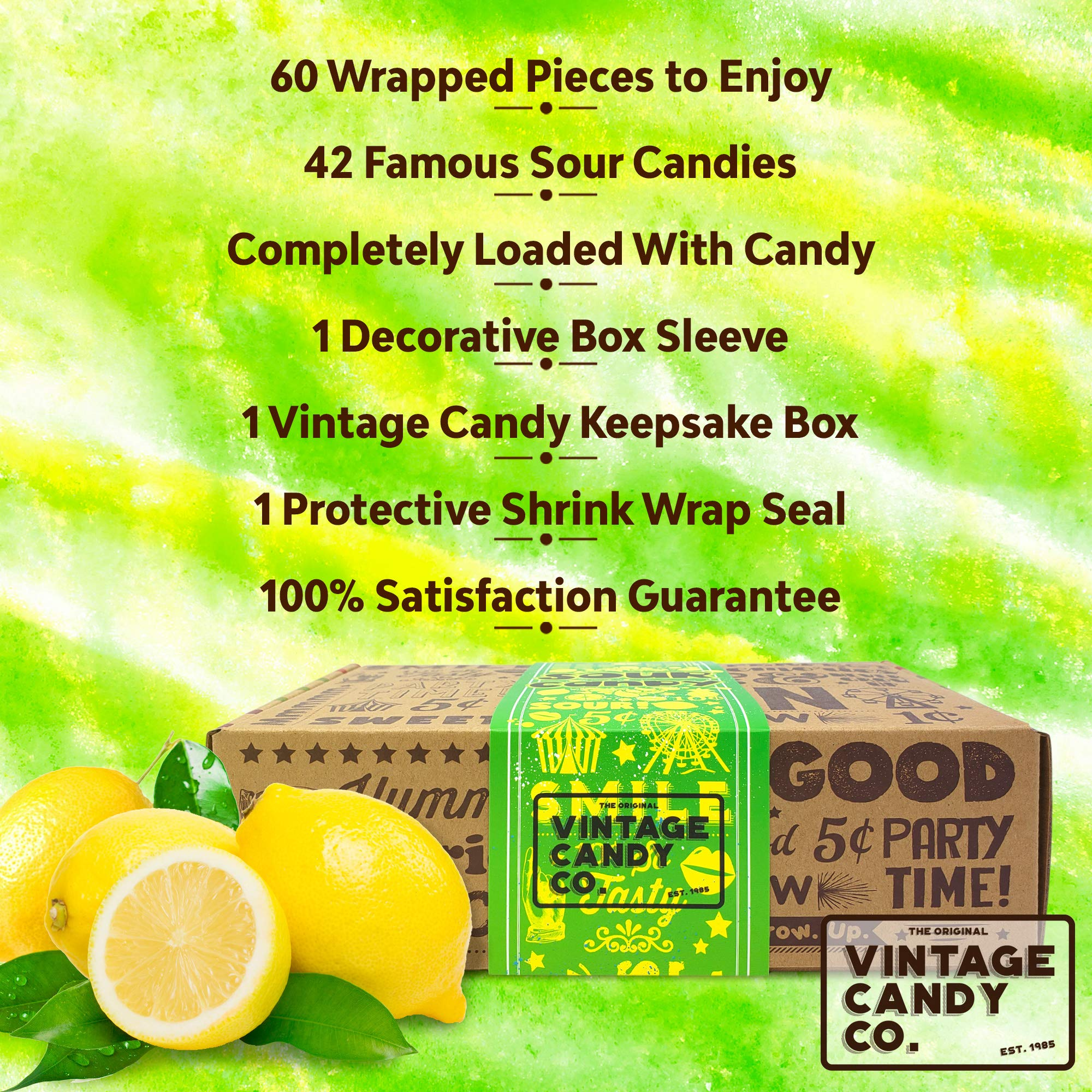 VINTAGE CANDY CO. SOUR CANDY ASSORTMENT GIFT BOX - Best Candy Variety Mix Care Package - Unique & Fun Gag Gift Basket - PERFECT For Man Or Woman Who LOVES SOUR Candy by Vintage Candy Co. (Image #3)