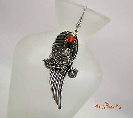 Silvertone Motorcycle Dangle Earrings with Large Wing, Orange and Black by ArtsParadis