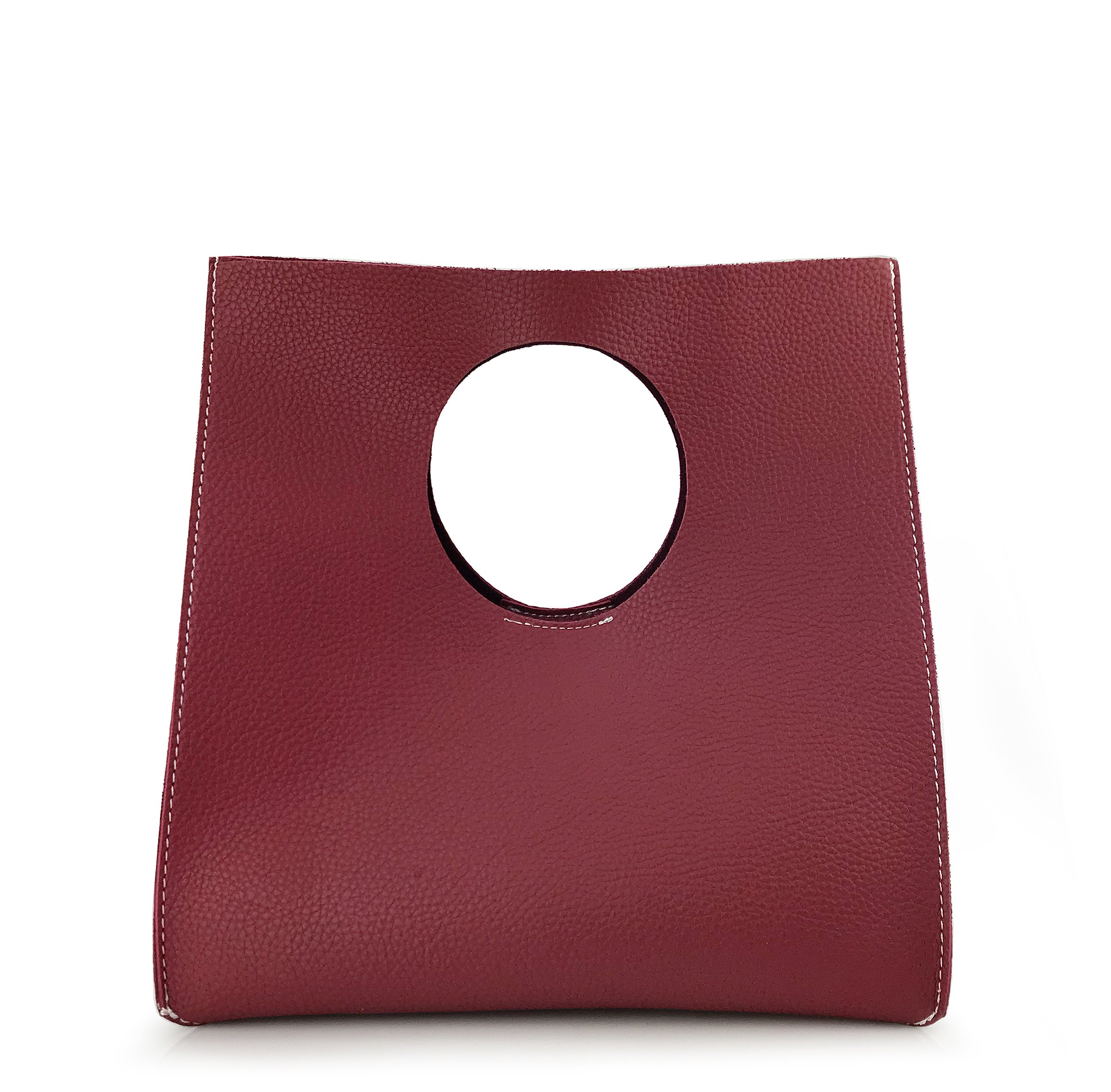 Hoxis Vintage Minimalist Style Soft Pu Leather Handbag Clutch Small Tote (Burgundy)
