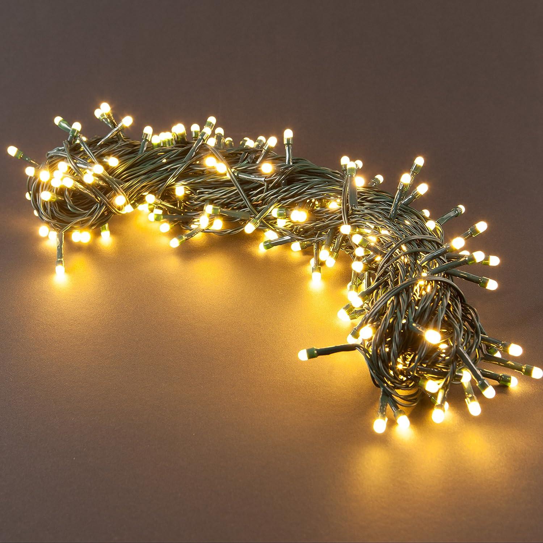 Lichtfarbe: warm wei/ß perfekt f/ür den Weihnachtsbaum // Tannenbaum SnowEra 200er LED Lichterkette Zuleitung Weihnachtsbeleuchtung f/ür innen und au/ßen mit zuschaltbarem Timer 30 m inkl L/änge: ca