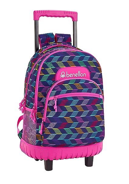 """Benetton """"Ondas"""" Oficial Mochila Escolar Grande Con Ruedas 320x140x460mm"""