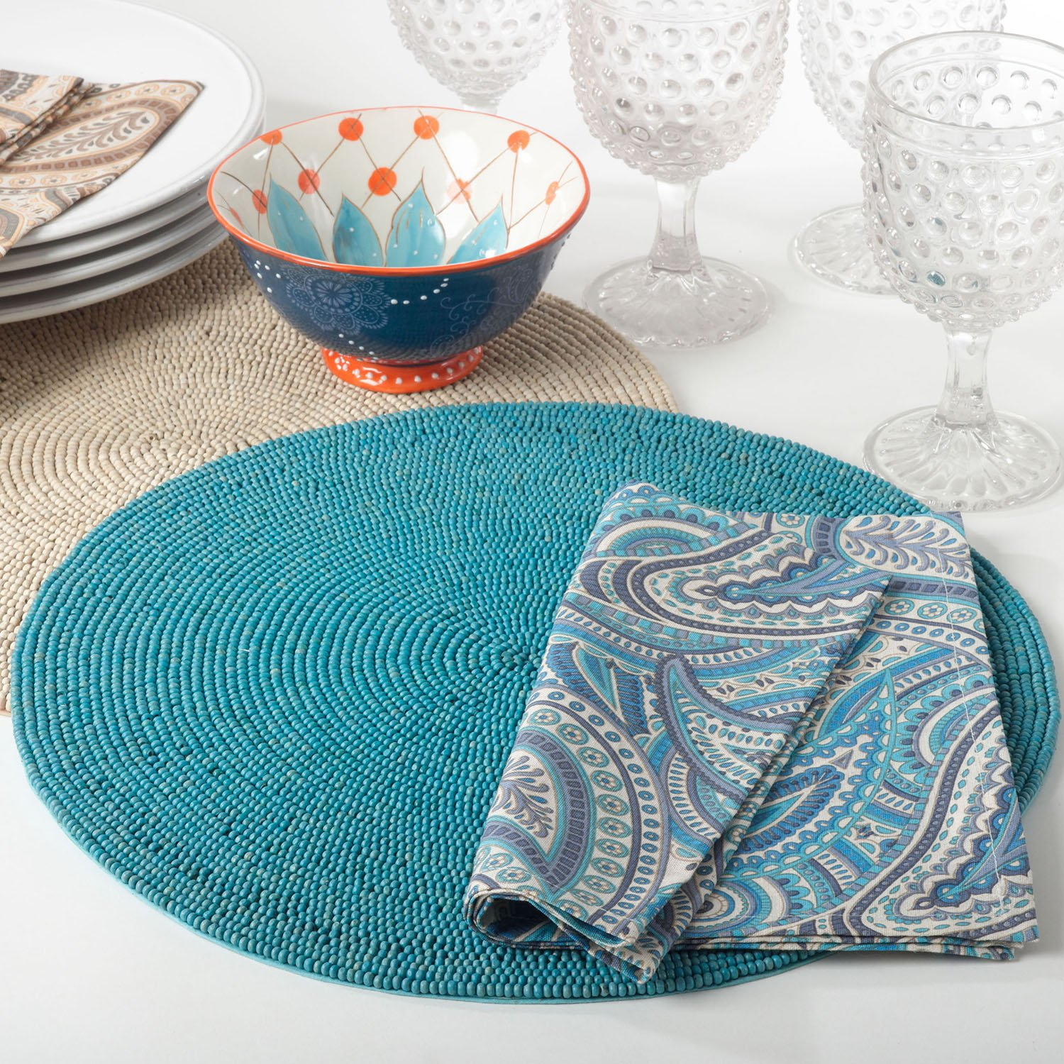 Ocean Blue Wooden Beaded Placemat 15'' Round , (4 Piece Set) by Occasion Gallery