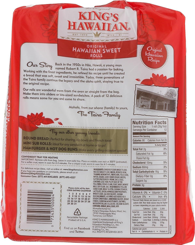 King S Hawaiian Hot Dog Bun Nutrition