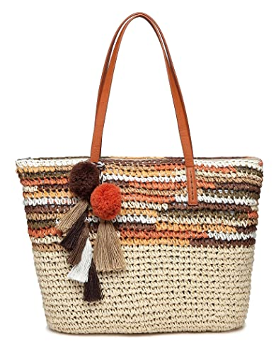 ab39567d7 Daisy Rose Large Straw Beach Tote Bag with Pom Poms and Inner Pouch -Vegan  Leather