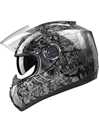 GLX GX15-SS-L Black Silver Large Full Face Motorcycle Helmet