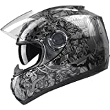 GLX Full Face Street Bike Motorcycle Helmet Dual Visor Sun Shield DOT Approved Silver