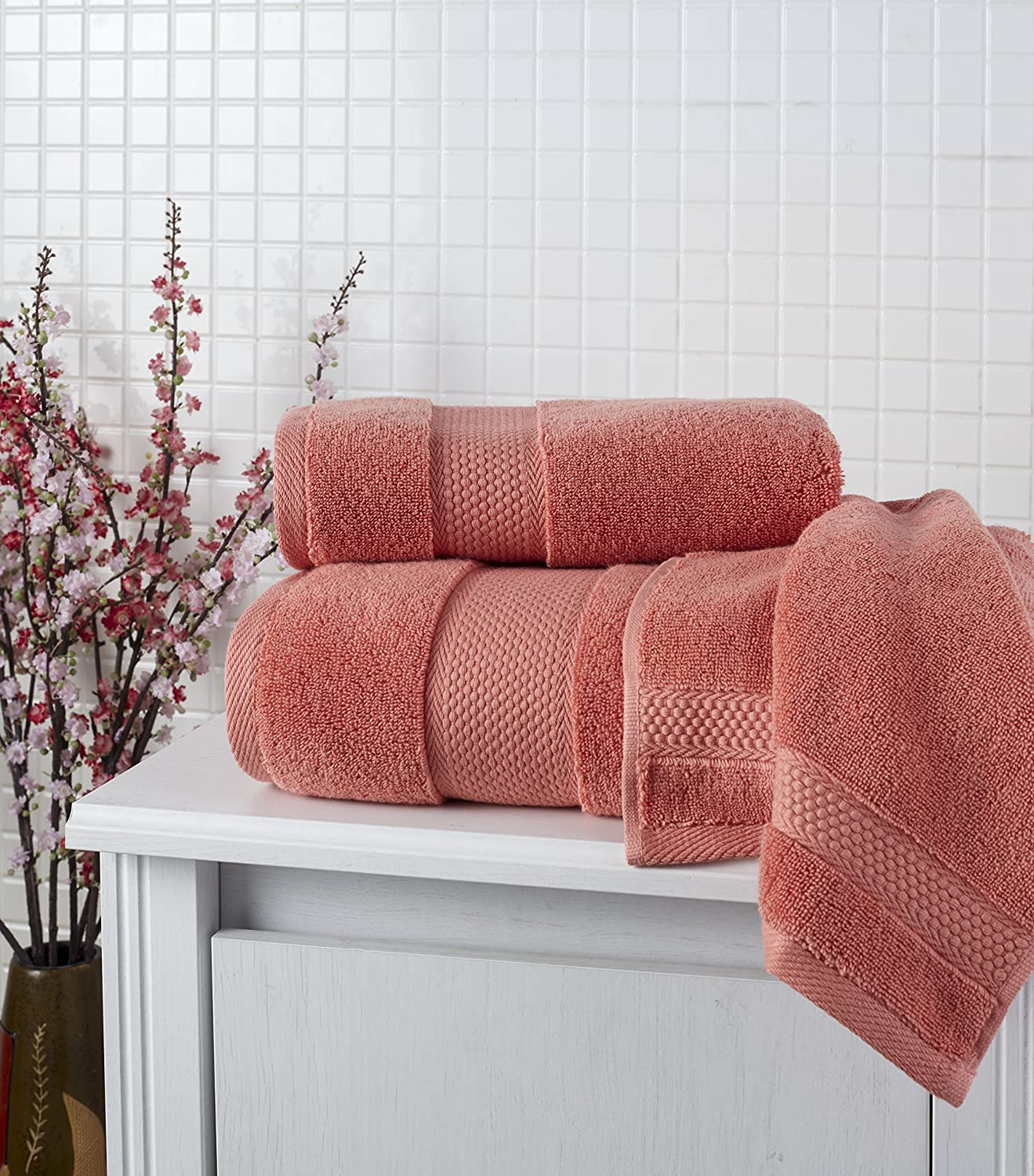 Bagno Milano Hotel Collection Towel Set 100/% Turkish Cotton Hotel Quality Highly Absorbent /& Extremely Soft CORAL RED 6 PCS