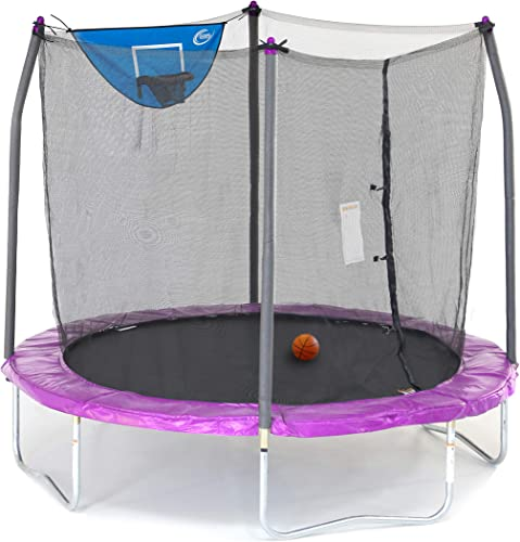 Skywalker Trampolines 8-Foot Jump N Dunk Trampoline with Enclosure Net Basketball Trampoline