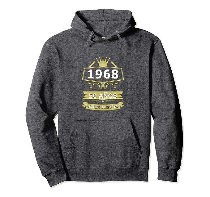Unisex Sudadera Cumpleanos 50 1968 50 Anos Haciendo Historia Hoodie 2XL Dark Heather