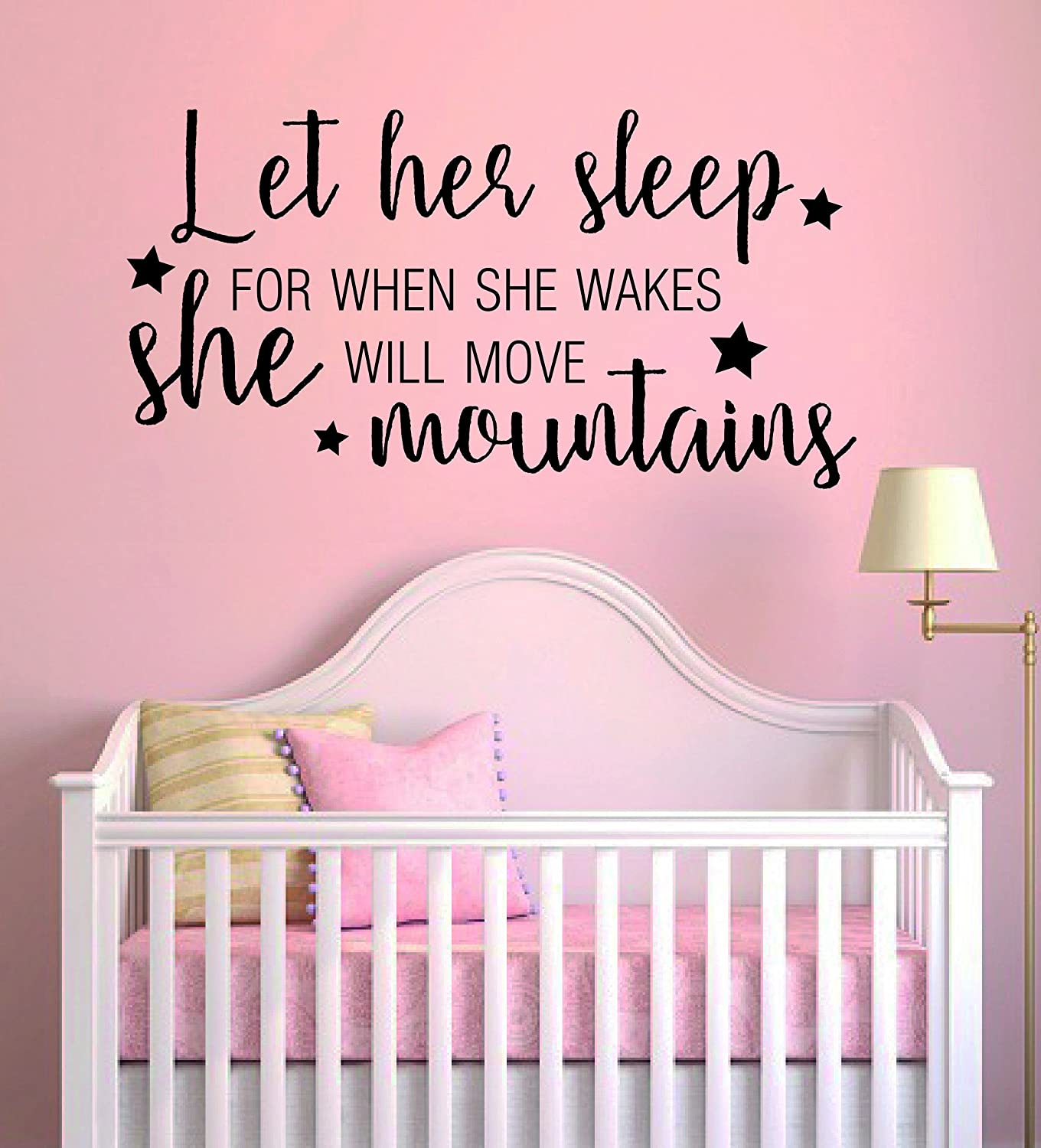Let Her Sleep for When She Wakes She Will Move Mountains Quote Mural Wall Decal Sticker for Home Childrens Bedroom Wide 32x19 Height J242 Nursery Wall Decal for Baby Room Decorations