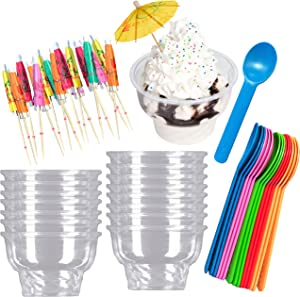 Ice Cream Sundae Kit - Clear Plastic 8 Ounce Dessert Dishes - Eco Friendly Plastic Spoons - Paper Umbrella Picks- 16 Cups, 16 Spoons 24 Umbrellas - Pink, Blue, Yellow, Green, Orange Party Supplies