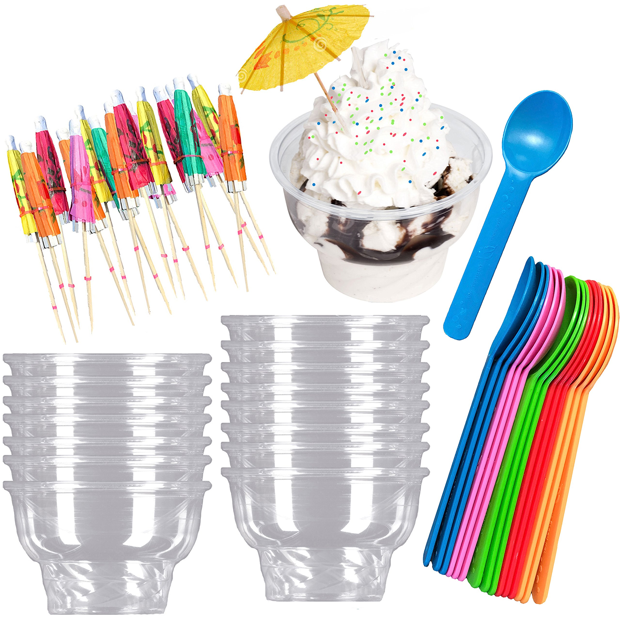 Ice Cream Sundae Kit - Clear Plastic 8 Ounce Dessert Dishes - Eco Friendly Plastic Spoons - Paper Umbrella Picks- 16 Each - Pink, Blue, Yellow, Green, Orange Party Supplies