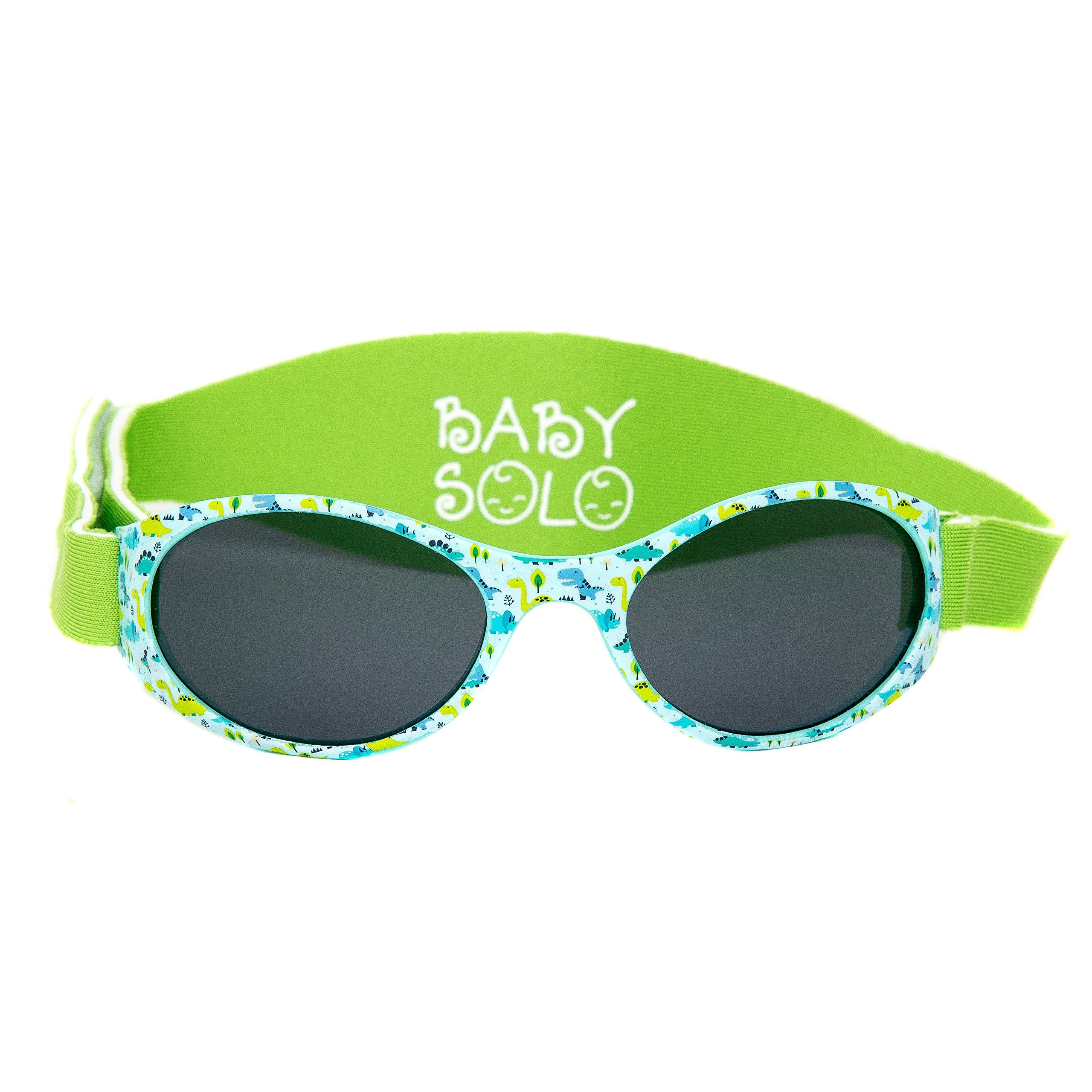 Baby Solo | Baby & Toddler Sunglasses | BPA Free | Blocks 100% UV | 0-36 months (0-3 years old, Dino Dance Frame w/Solid Black Lens)