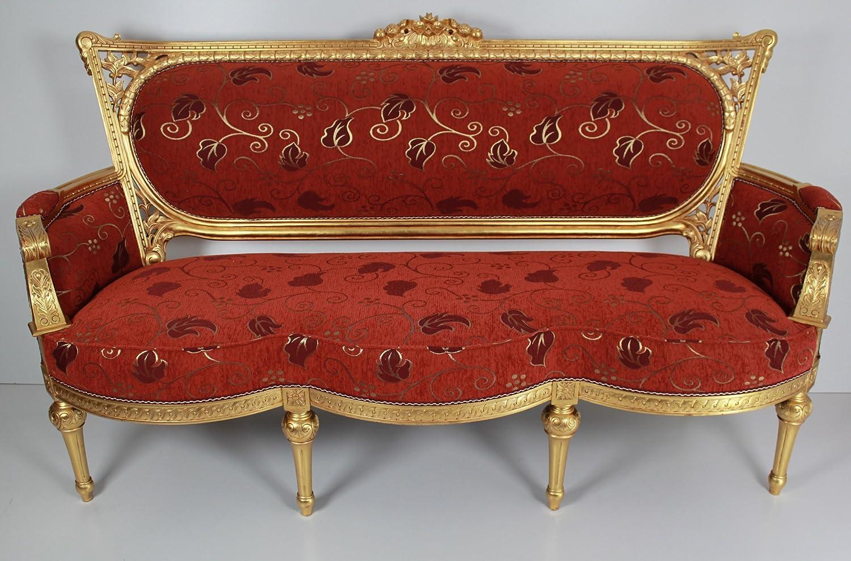 Sofa, Dreiersofa, exclusiv, Art englischer Stil in Goldblatt mit vielen Ornamenten.