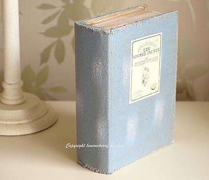 Caja para libro – Chic y estilo Shabby Vintage envejecido lienzo cubierto caja para libro – caja con forma de diseño libro caja de almacenaje para mantener fotos recetas trinquetes y recuerdos –