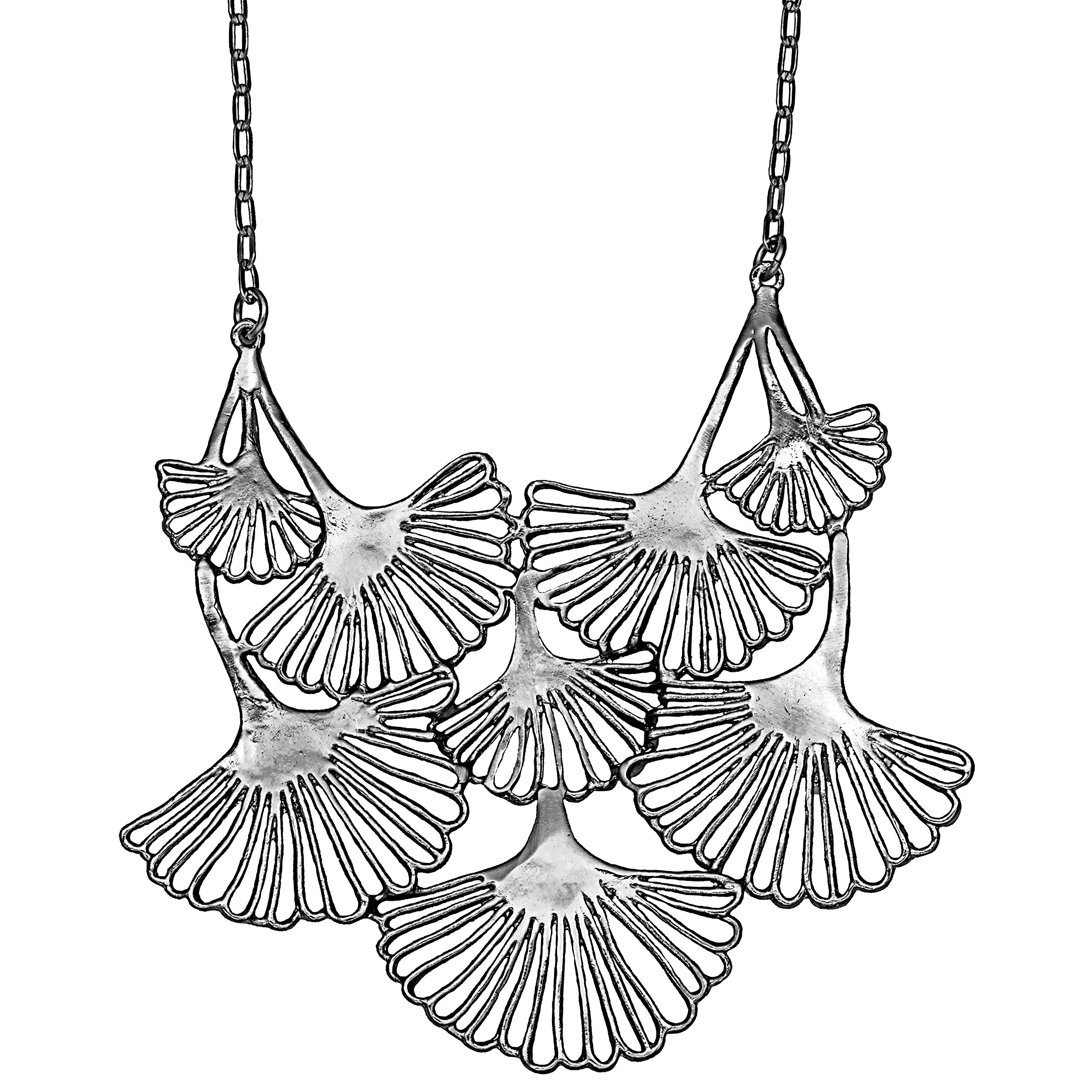 Mercedes Shaffer Ginkgo Cascading Leaf Collar Necklace (Platinum Silver Plated) Eco Chic Designs by