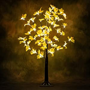 LAMPHOME Lighted Maple Tree, 4 Feet 56 LED Christmas Decorations Lighted Fall Tree for Home, Party, Festival and Outdoor Use, UL Listed, Warm White