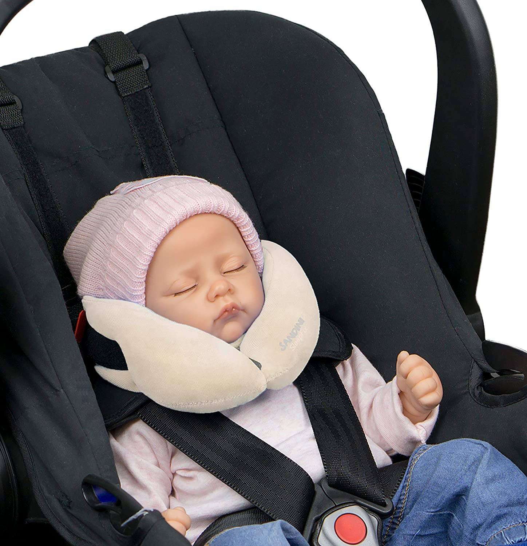 SANDINI SleepFix® Baby – cojín cervical con función - Accesorios de asiento infantil para coche/bicicleta/viaje - Reposacabezas/reductor de asiento/ evita que la cabeza de su hijo caiga mientras duerm
