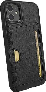 Smartish iPhone 11 Wallet Case - Wallet Slayer Vol. 2 [Slim Protective Kickstand] Credit Card Holder (Silk) - Black Tie Affair