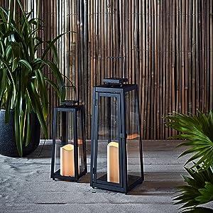 Ligts4fun, Inc. Set of 2 Black Metal Solar Powered LED Fully Weatherproof Outdoor Garden & Patio Flameless Candle Lanterns