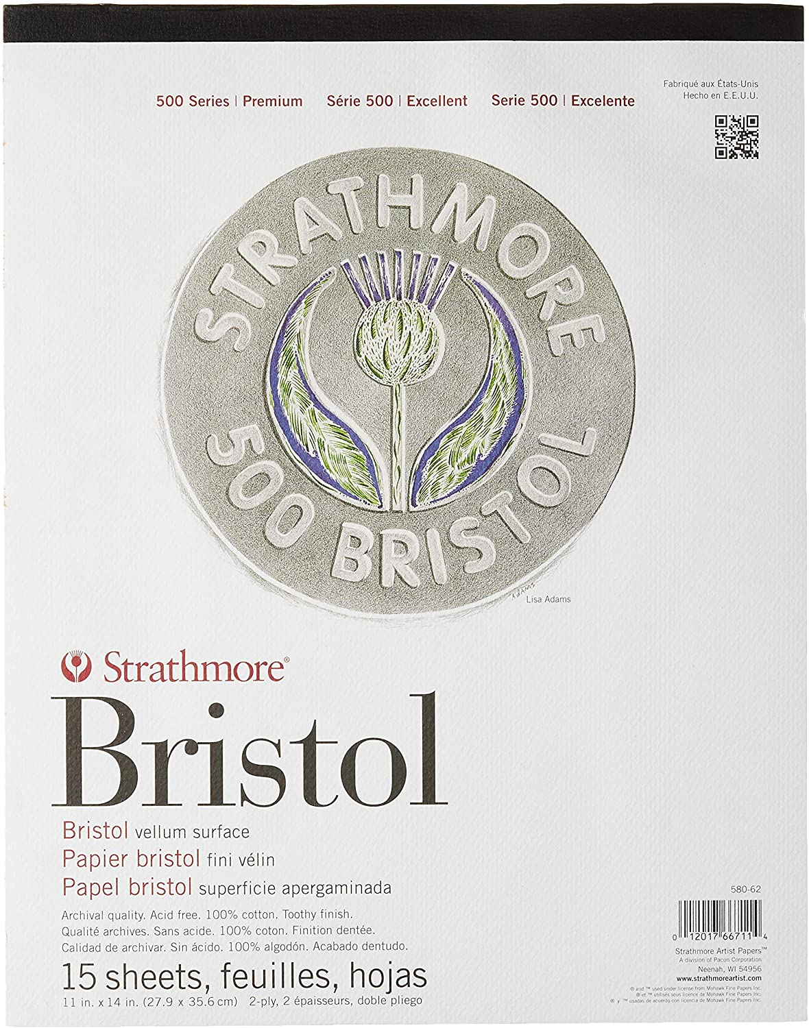 "Strathmore (580-62 500 Series Bristol, 2-Ply Vellum Surface, 11""x14"", White, 15 Sheets"