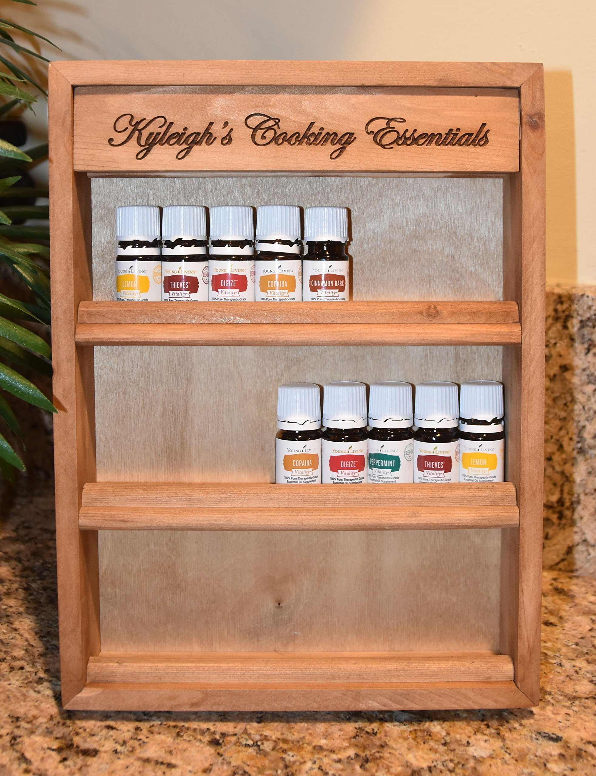 Personalized Engraved Essential Oil Storage Wood Shelf Rack with Stand