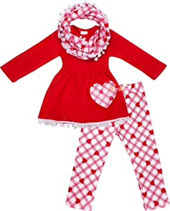 Amor Bee Girls Valentine's Day Heart Wild Flowers Outfit Set - Top Leggings Scarf 3pc Set
