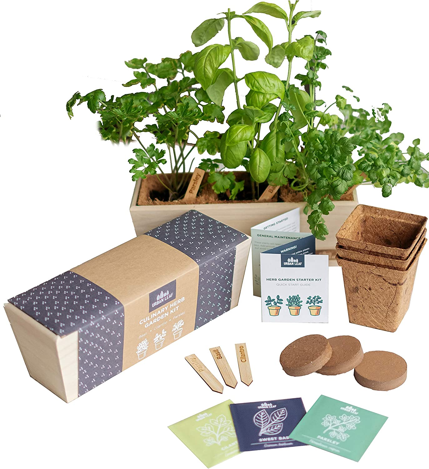 Herb Garden Starter Kit - Grow Live Herbs Indoors from Seed in Your Kitchen or Window - Perfect Gardening Gift - Indoor Garden Kit - Includes Premium Herb Seeds