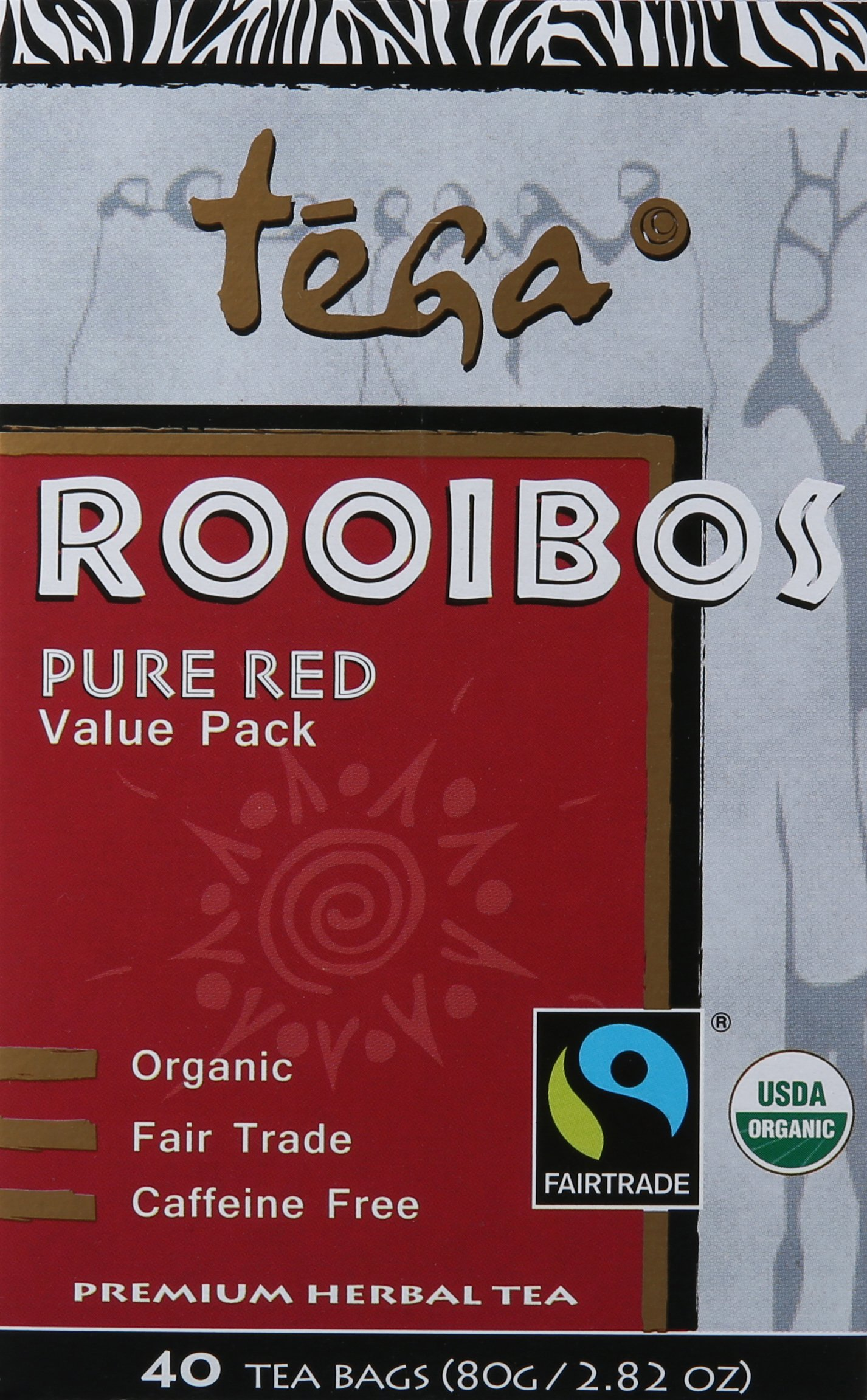 Tega Organic Rooibos Red Tea, 40-Count Tea Bags , 2.82 Oz (Pack of 4)