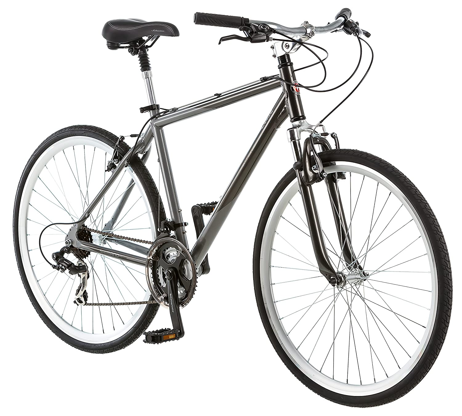 c975dc08c85 Amazon.com : Schwinn Capital 700c Hybrid Bicycle for Men, Grey : Sports &  Outdoors