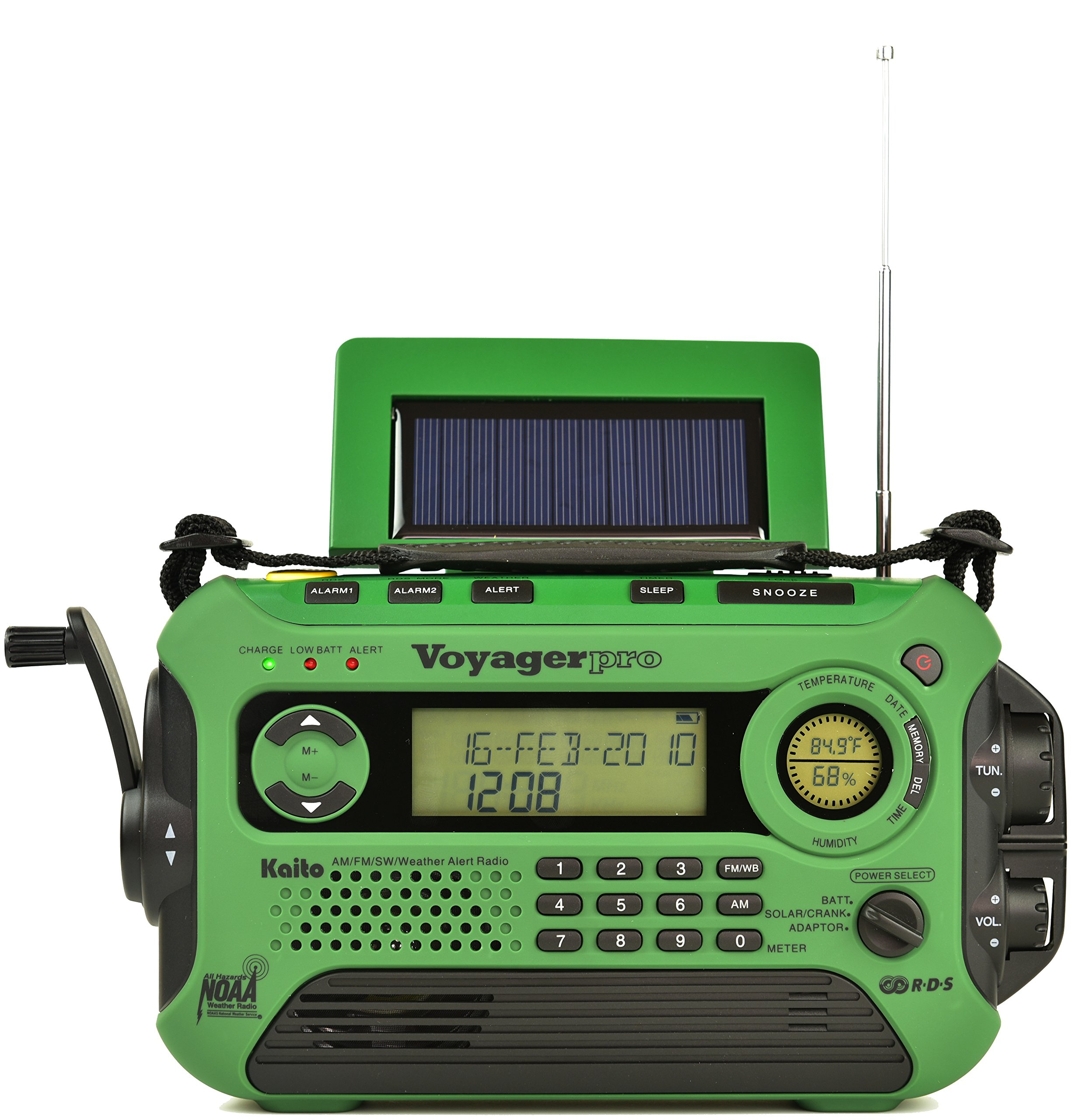 Kaito KA600L 5-Way Powered Emergency AM/FM/SW NOAA Weather Alert Radio with Solar,Dynamo Crank,Flashlight and Reading Lamp, Digital Radio with Larger Battery and Solar Panel (Green) by Kaito