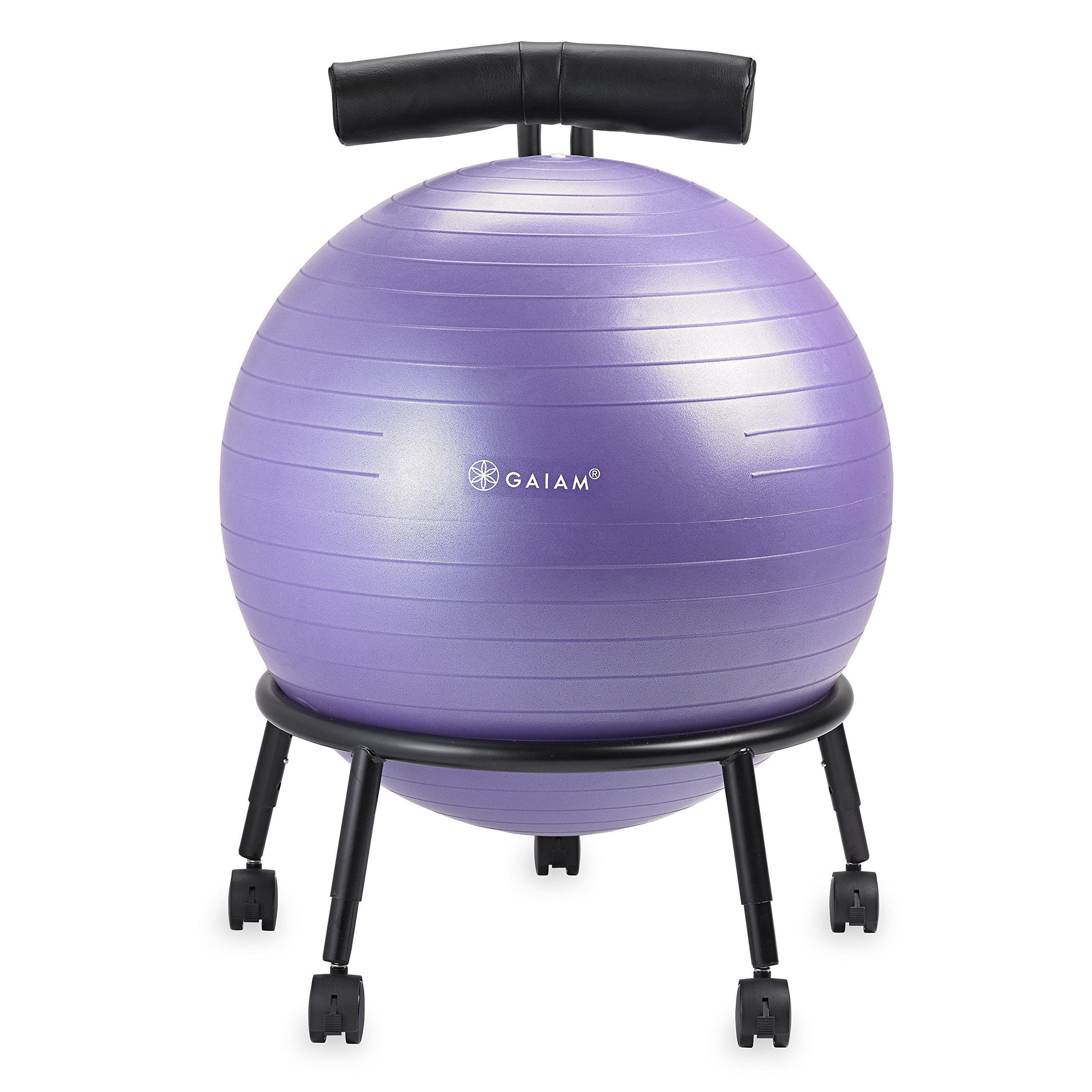 Gaiam Adjustable Custom-Fit Balance Ball Chair, Stability Ball Desk Chair with 55cm Yoga Ball, Inflation Pump and Exercise Guide for Home or Office, Purple