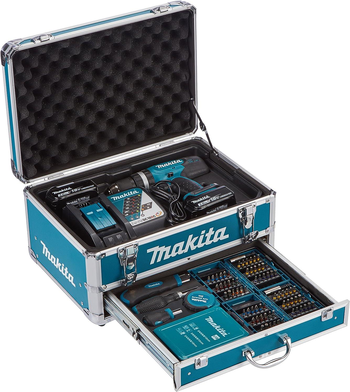 Makita DHP453RYX2 drill Sin llave Negro, Cian 1,7 kg - Taladro eléctrico (1,3 cm, 3,6 cm, 42 Nm, 27 Nm, 400 RPM, 1300 RPM)