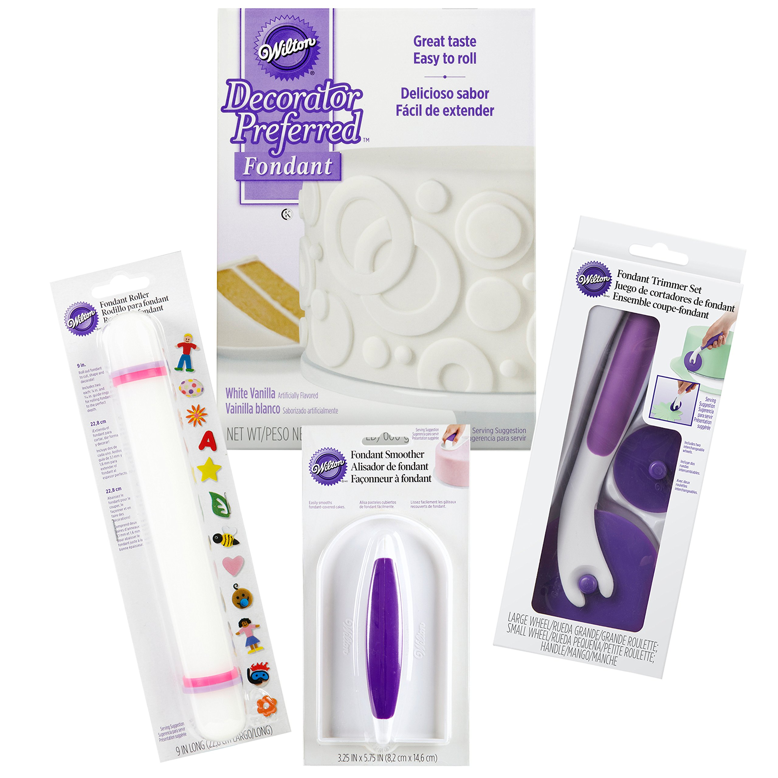 Wilton Fondant Tool Set for Beginners, 10-Piece - White Fondant with Roller, Trimmer, and Smoother