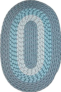 product image for Plymouth 8' Round Braided Rug in Blue Mist Made in New England