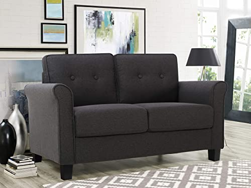 Lifestyle Solutions Harley Upholstered Fabric Rolled Arms Loveseat