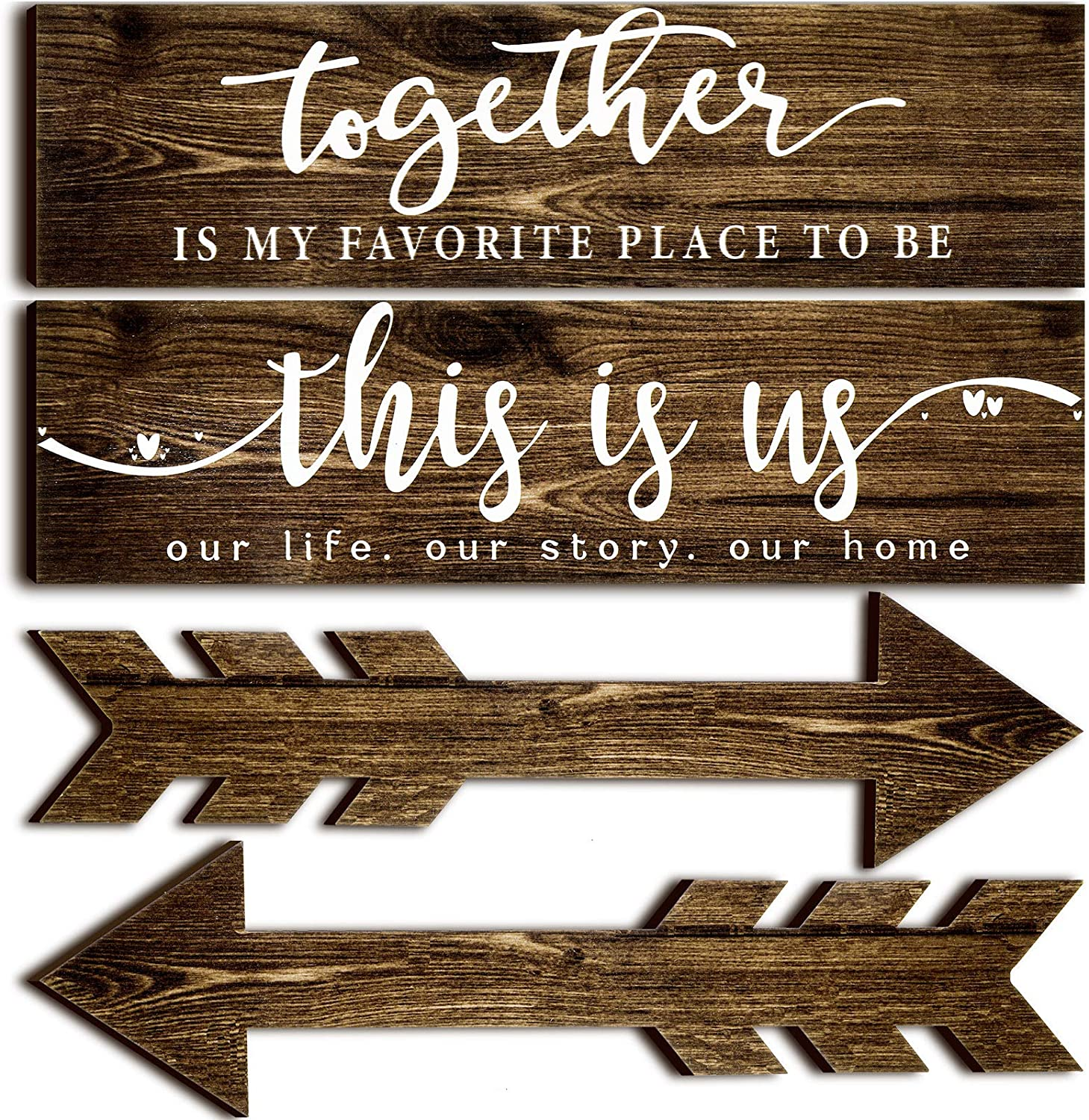 4 Pieces This is Us Our Life Our Story Rustic Wood Signs Together Wooden Wall Sign Wooden Arrow Hanging Signs Art Signs Farmhouse Entryway Signs for Bedroom Living Room, 15 x 4 x 0.2 Inch (Brown)