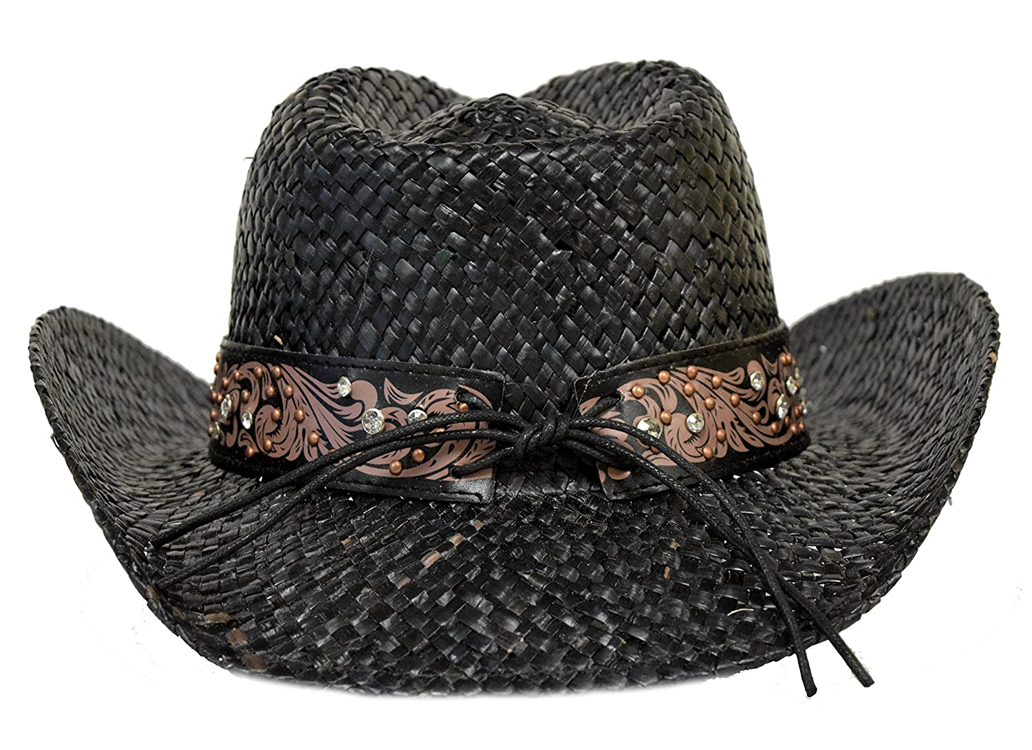 3156124faf6 Florida Hat Company Bling Western Hat Heart   Rhinestones Black at Amazon  Women s Clothing store