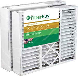 FilterBuy 21x24.5x5 Rheem Ruud PD540014, PD540020 Compatible Pleated AC Furnace Air Filters (MERV 11, AFB Gold). Fits air cleaner models RXHF-E24AM10 RXHF-E24AM13. 2 Pack.