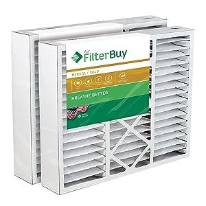 FilterBuy 20x20x5 Amana Goodman Coleman York FS2020 M2-1056 MU2020 9183960 Compatible Pleated AC Furnace Air Filters (MERV 11, AFB Gold). 2 Pack.