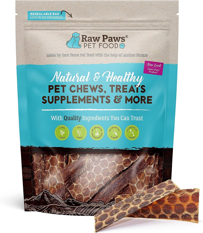 Raw Paws Pet Natural 6-inch Beef Dog Jerky Treats, 16-oz - Dog Taffy Sticks - Esophagus Dog Treats - Beef Gullet Sticks for Dogs - Glucosamine Chondroitin Dog Treats for Joints - Beef Strips for Dogs