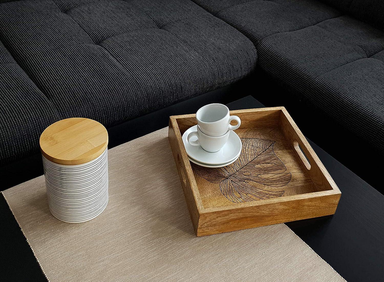 sch/öne Blatt Gravur Dekazia Tablett aus edlem Mango-Holz handgemacht